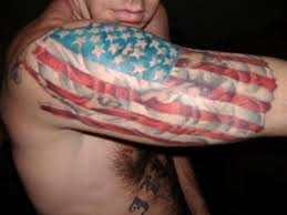 mexican and american flag tattoos on shoulder real photo