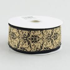 damask ribbon 1 5 faux burlap black damask print ribbon 10 yards rg1135