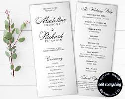 wedding ceremony bulletin template printable wedding program template mr mrs instant
