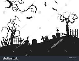halloween graveyard illustration no gradients stock vector