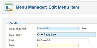 how to create menu anchor links in joomla one page templates