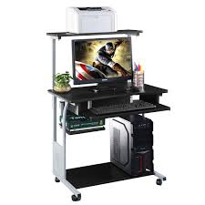 costway puter desk w printer shelf stand rolling laptop home
