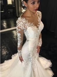 2018 mermaid wedding dresses long sleeves lace beaded sheer back