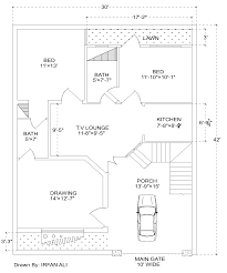 2 Bedroom Modern House Plans by 6 Marla House Plan 30 U0027 42 U0027 Modern House Plan House Plan
