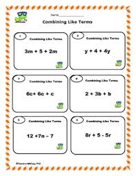 combining like terms simplifying expressions worksheets u0026 task cards
