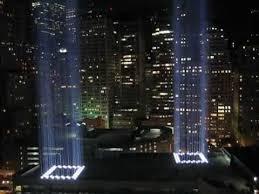 world trade center lights 9 11 world trade center light towers up close youtube