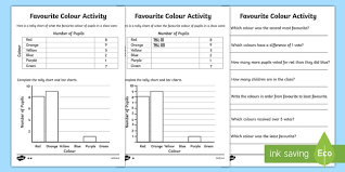 favourite colour tally and bar chart activity sheets tally
