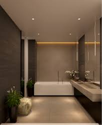 luxury bathroom with no windows subtle lighting treatment