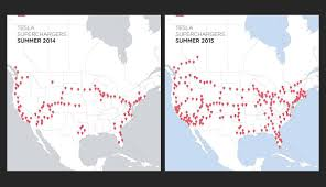 Tesla Charging Stations Map Tesla Supercharger Use 5 Times Higher In 2015 Ecomento Com