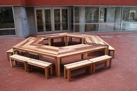 hexagon patio table and chairs reclaimed pallet furniture creative idea hexagonal brown pallet wood