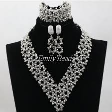 crystal choker necklace set images Silver crystal nigerian traditional wedding african beads jewelry jpg