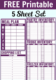 It Inventory Spreadsheet Free Printable Menu Planner Shopping List U0026 Inventory Sheets