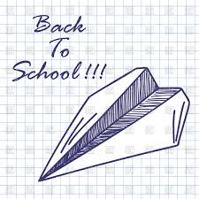 paper plane doodle sketch on checkered paper vector clipart image