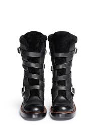 moto boots coach u0027moto u0027 shearling pebbled leather buckle boots in black lyst