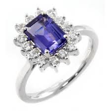 18ct white gold diamond amethyst 18ct white gold trilliant cut tanzanite u0026 diamond cluster ring