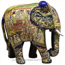 royal blue decorative papier mache embossed elephant sculpture