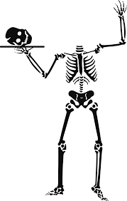 human skelton with skull on a platter free halloween vector