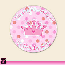 party favor labels princess gift favor labels girl birthday party pink polka dots