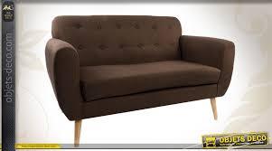 canapé 2 places marron canapé 2 place en bois et tissu coloris marron avec capitons