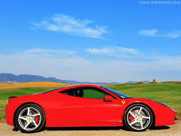 ferrari side 458 italia sx side typical italian tuscan landscape blue sky color