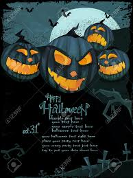 halloween template with night landscape evil pumpkins spooky