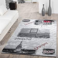 Wohnzimmer Grau Creme Teppich Modern Istanbul Bosporus Brücke Motiv Teppich Istanbul