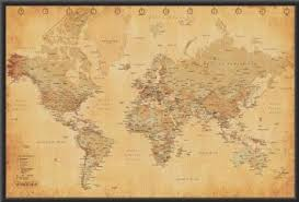 Decorative World Map Buy Framed World Map Vintage Style 36x24 Wood Framed Poster Art
