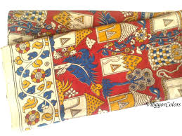 kalamkari cotton saree blouse fabric 1yard red blue yellow floral