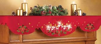 lighted candles mantel scarf decor home kitchen
