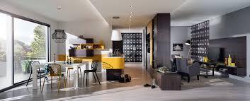 cuisine moderne ouverte sur salon ambiance symétric mobalpa