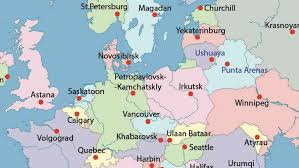 latitude map european capitals replaced by cities with the same latitude big