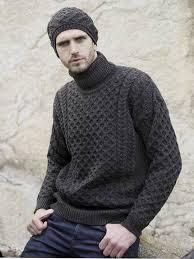 mens turtleneck sweater s aran turtkeneck sweater grey whiten wool