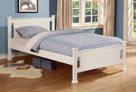 White Wood Single Bed Frame Kid Children King Single Size White Wooden Bed