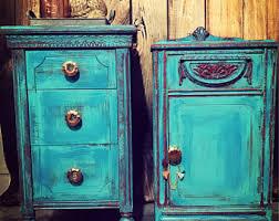 turquoise nightstand etsy