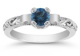 art deco london blue topaz engagement ring 14k white gold