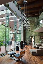 living room with high ceiling lighting fixtures contemporary