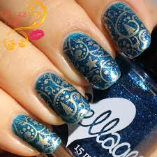 musings of the wife of a jedi royal blue and gold nail art with
