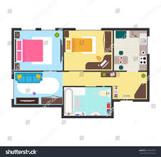 apartment floor plan furniture top view stock vector 529314919