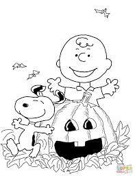 charlie brown halloween coloring page with holloween coloring