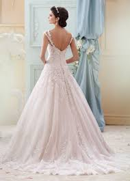 hand beaded light pink lace ball gown wedding dress 215277 arwen