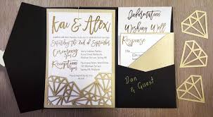 Card Inserts For Invitations My Diy Story Geometric Black U0026 Gold Foil Pocket Invitation
