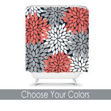 Coral And Gray Curtains Best Flower Burst Shower Curtain Products On Wanelo