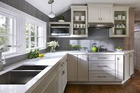 Gray Backsplash Kitchen by Cabinets U0026 Drawer Farmhouse Kitchen White Flat Panel Cabinet Gray