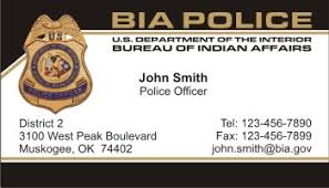 united states department of interior bureau of indian affairs policebusinesscards com display business cards