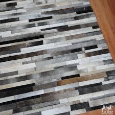 paz cowhide rug block grey
