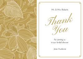 bridal card brown illustrated bridal shower thank you card templates by canva