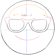 how to draw sunglasses emoji face with easy steps tutorial how