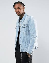 light blue denim jacket mens men bershka oversized denim jacket in light blue button placket blue