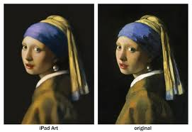 girl with the pearl earring painting artist uses to create finger painting of girl with a pearl