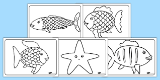 colouring sheets support teaching rainbow fish